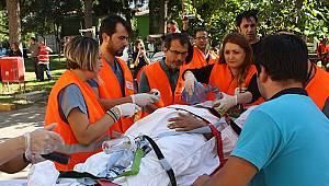 Göğüs Hastanesi'nde Hasta Tahliye Kitiyle Tatbikat