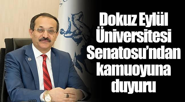 Dokuz Eylül Üniversitesi Senatosu'ndan kamuoyuna duyuru