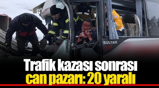 Trafik kazası sonrası can pazarı: 20 yaralı