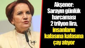 Akşener: Sarayın günlük harcaması 2 trilyon lira, insanların kafasına kafasına çay atıyor