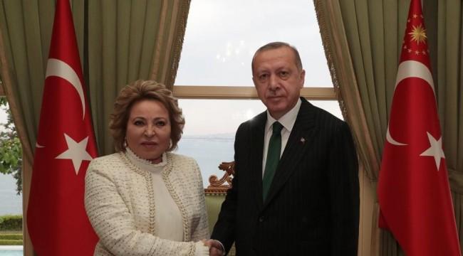 Erdoğan, Rusya Federasyon Konseyi Başkanı Matviyenko'yu kabul etti