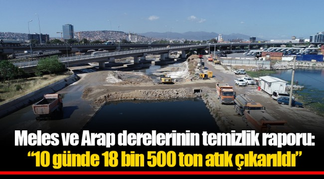 """Meles ve Arap derelerinin temizlik raporu:  """"10 günde 18 bin 500 ton atık çıkarıldı"""""""