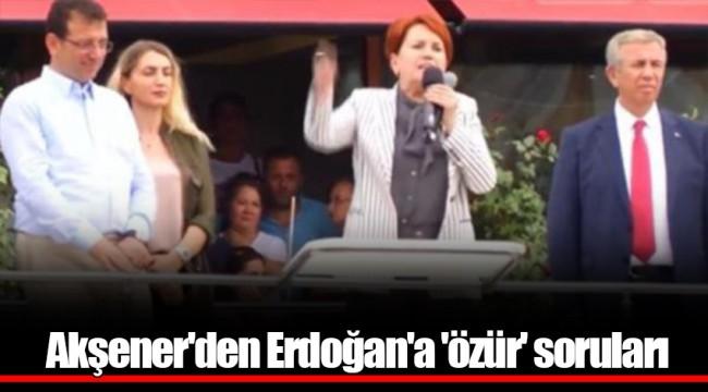 Akşener'den Erdoğan'a 'özür' soruları