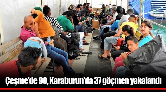 Çeşme'de 90, Karaburun'da 37 göçmen yakalandı