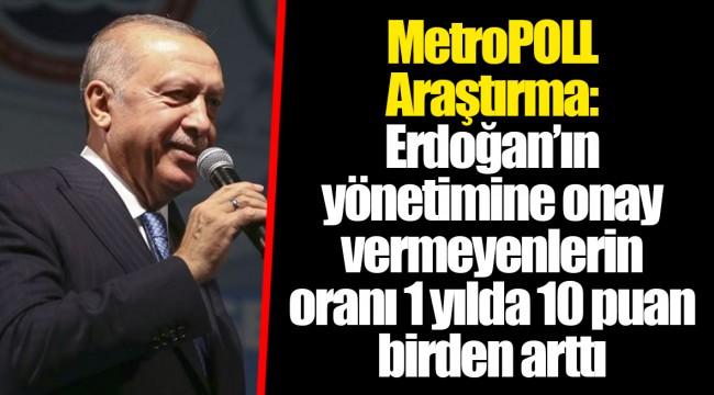 MetroPOLL Araştırma: Erdoğan'ın yönetimine onay vermeyenlerin oranı 1 yılda 10 puan birden arttı