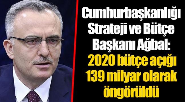 Cumhurbaşkanlığı Strateji ve Bütçe Başkanı Ağbal: 2020 bütçe açığı 139 milyar olarak öngörüldü