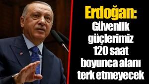 Erdoğan: Güvenlik güçlerimiz 120 saat boyunca alanı terk etmeyecek