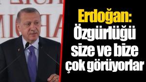 Erdoğan: Özgürlüğü size ve bize çok görüyorlar