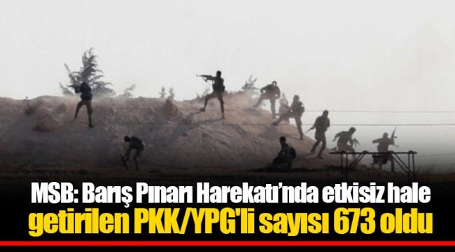 MSB: Barış Pınarı Harekatı'nda etkisiz hale getirilen PKK/YPG'li sayısı 673 oldu
