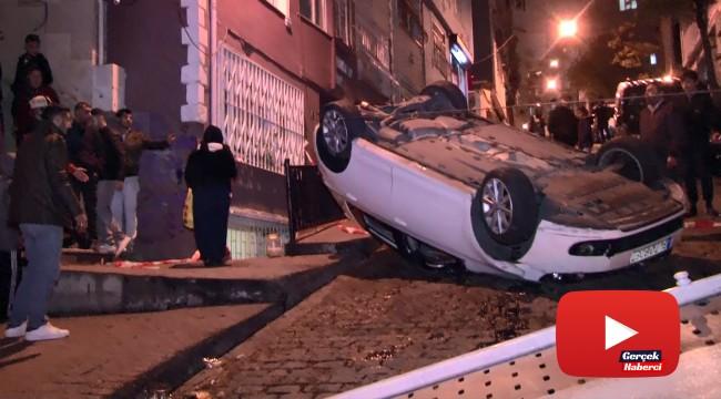 Otomobilin sokak içerisinde takla attığı anlar kamerada