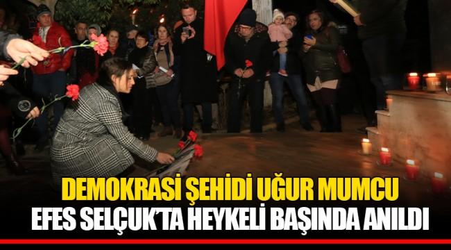 DEMOKRASİ ŞEHİDİ UĞUR MUMCU EFES SELÇUK'TA HEYKELİ BAŞINDA ANILDI