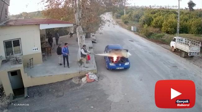 Isınması için çalışır halde bırakılan LPG'li otomobilde yangın