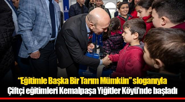 """""""Eğitimle Başka Bir Tarım Mümkün"""" sloganıyla Çiftçi eğitimleri Kemalpaşa Yiğitler Köyü'nde başladı"""