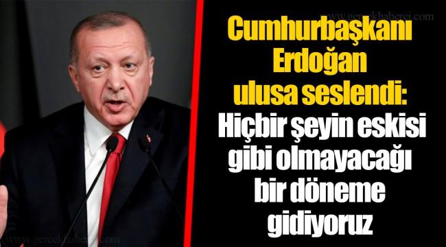Cumhurbaşkanı Erdoğan ulusa seslendi: Hiçbir şeyin eskisi gibi olmayacağı bir döneme gidiyoruz