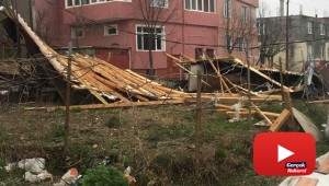Fırtına hayatı felç etti: İşyerinin camları indi, çatılar uçtu