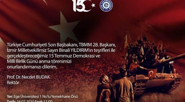 """15 Temmuz Destanı Ege Üniversitesi'nde """"15 Temmuz Demokrasi Anıtı"""" ile yaşatılacak"""