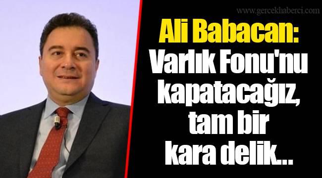 Ali Babacan: Varlık Fonu'nu kapatacağız, tam bir kara delik...