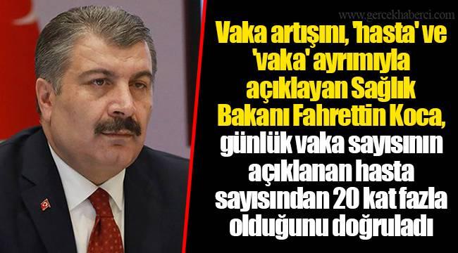 Vaka artışını, 'hasta' ve 'vaka' ayrımıyla açıklayan Sağlık Bakanı Fahrettin Koca, günlük vaka sayısının açıklanan hasta sayısından 20 kat fazla olduğunu doğruladı