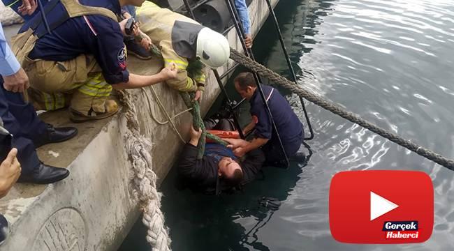 Denize düşen şahsa korona virüs nedeniyle el uzatmadılar