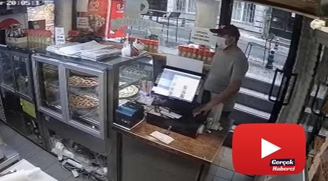 Pizza siparişi verip cep telefonu çalan hırsız kamerada