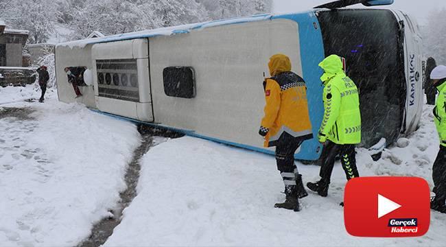 Zonguldak'ta yolcu otobüsü devrildi : 1'i bebek 16 kişi yaralandı