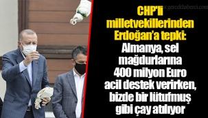 CHP'li milletvekillerinden Erdoğan'a tepki: Almanya, sel mağdurlarına 400 milyon Euro acil destek verirken, bizde bir lütufmuş gibi çay atılıyor