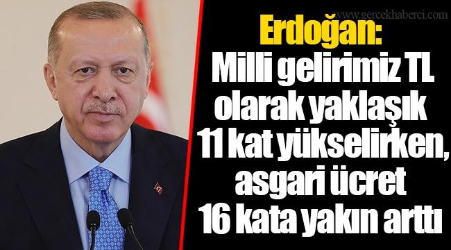Erdoğan: Milli gelirimiz TL olarak yaklaşık 11 kat yükselirken, asgari ücret 16 kata yakın arttı